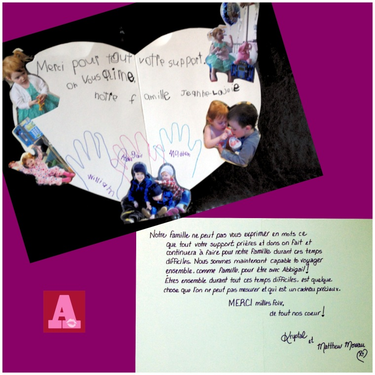 The very large heart-shaped card the kids made to thank the staff, students & families of Jeanne-Lajoie Pavillion Elementaire <3